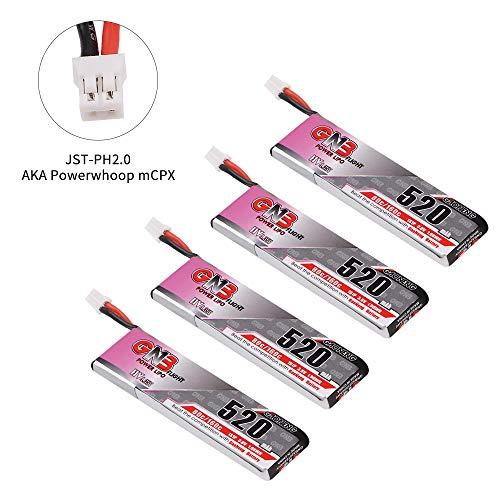 4pcs 520mAh 1S 3.8V LiPo-Batterie 80C HV LiHv-Batterie JST-PH 2.0 PowerWhoop MCPX-Anschluss für Inductrix FPV Plus EMAX Tinyhawk Micro FPV, der Drohne etc - Akku Mcpx