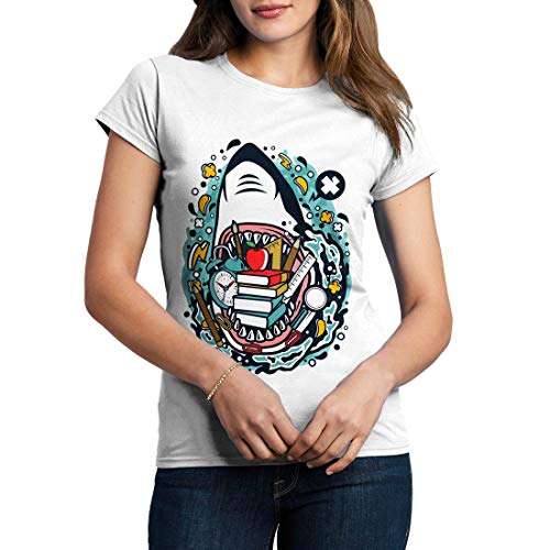 C647WCNTW Damen T-Shirt Shark School Work Life Jobs Education Teacher Learning Students Pupils Primary University College(X-Large,White)