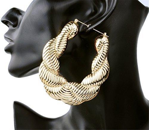 Da donna Fashion Golden Hip Hop orecchini Ballerina esagerato orecchini TWIST in bambù