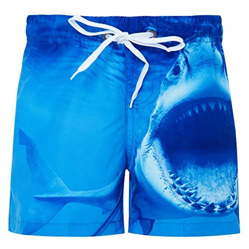 Fanient Jungens 3D Printed Funny Badehosen Schnell Trocknendes Strandkleidung Sports Running Baden Board Kurze Hosen (A-Shark, 10-12Jahre) -