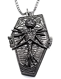 ShopyStore Black Popular Nightmare Before Christmas Vintage Quartz Pocket Watch Necklace Pendant F