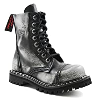 Angry Itch 8 Hole Gothic Punk Black White Leather Army Ranger Boot Steel Toe (Ladies UK 5 EU 38)