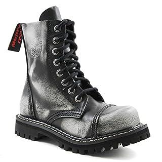 Angry Itch 8 Loch Weiß schwarz Kampf Leder Armee Ranger Stiefel Stahlkappe Punk (40)