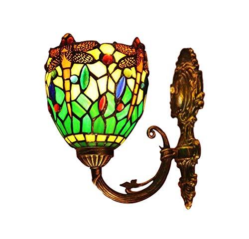 Tiffany-Art-Wandlampe, grüne Emaille-Entwurfs-Buntglas-Schreibtisch-Lampe, Retro- Schlafzimmer-Nachttischlampe, E27 YDYG -