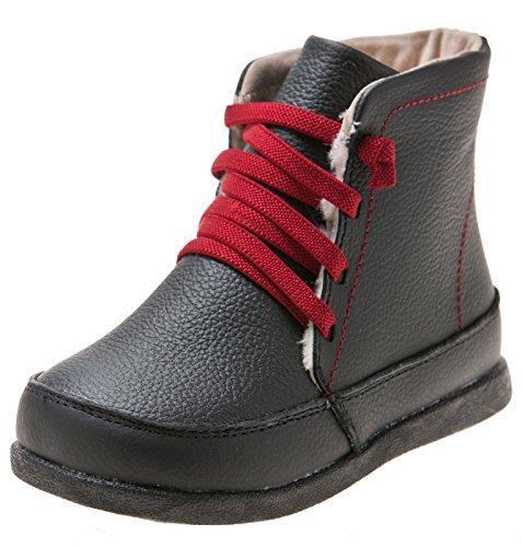 Little blue lamb toddler chaussures bottes en cuir véritable, bottines noir