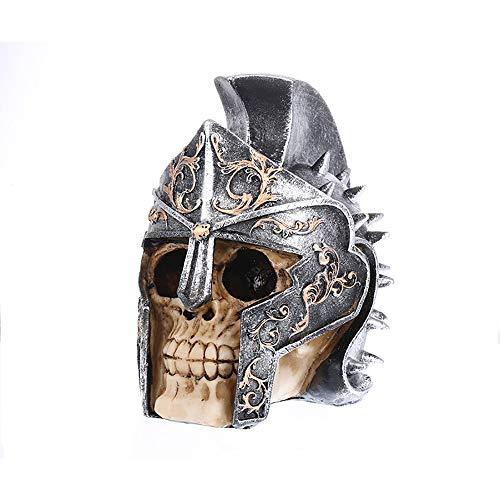 ger-Skelett, Schädel, der eine Stahlhelm-Kunstharz-Skulptur, Fotografie-Requisiten, für Inneneinrichtung Halloween trägt ()