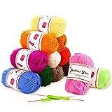 Ovillos de Lana 12 colores 50g/colore Fuyit Lanas para Tejer hilo acrílico perfecto para crochet y...