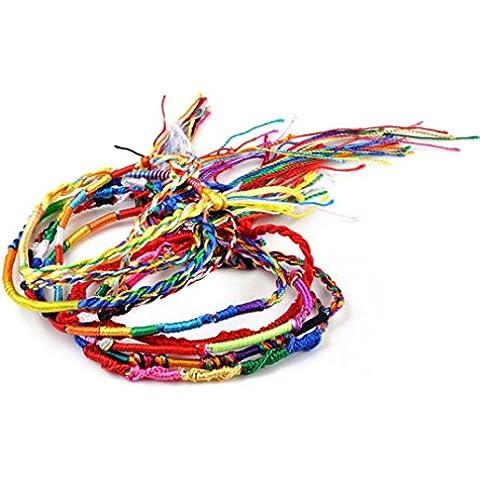 Toraway Lote joyería al por mayor de la trenza de filamentos La amistad colorida pulseras hechas a mano de estilo étnico Cordones (20PC)