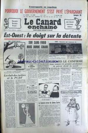 CANARD ENCHAINE (LE) [No 3089] du 09/01/1980 - LE GOUVERNEMENT S'EST PAYE L'EPARGNANT - MARCHAIS - BREJNEV - ESCARO - A. RIBAUD - J. LAP - JIMMY CARTER.