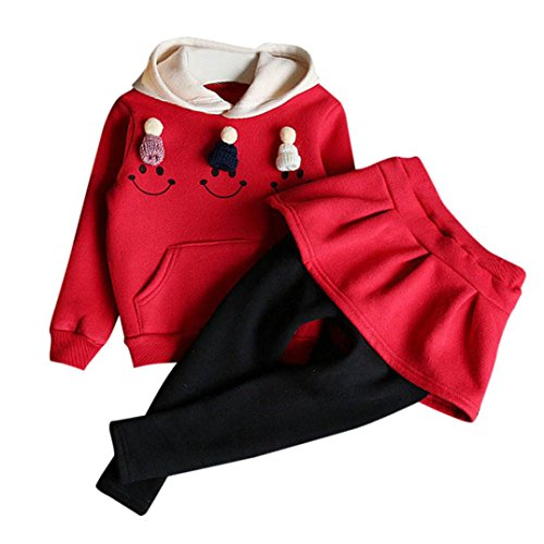 OverDose 2 Stück Kleinkind Baby Kinder Mädchen Winter Kleider Set Dicke Outfits Kleidung Smiley Druck Lange Hülse Kapuzenpullover Tops + Hosen Rock Set(3T,A-Rot) (3t-fleece)