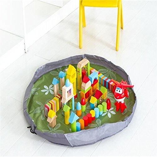 Cordón bolsa de almacenamiento de juguete bolsa de almacenamiento, Gran niños juguetes organizador portátil bolsa para niños alfombra alfombra de juegos 150cm (59cm), Verde, 60*60 inches