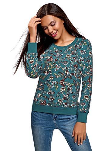 oodji Ultra Damen Bedrucktes Sweatshirt Basic, Grün, DE 44 / EU 46 / XXL (Grün Floral Bedruckte)