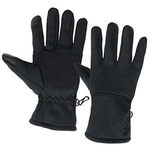 Alpidex Softshell Sporthandschuhe SMART WOOLF 2.0 Running Handschuhe Unisex Sport Handschuhe Nordic Walking Handschuhe für Damen und Herren mit Touchscreen-Funktion Fingerhandschuhe, Größe:M, Farbe:black