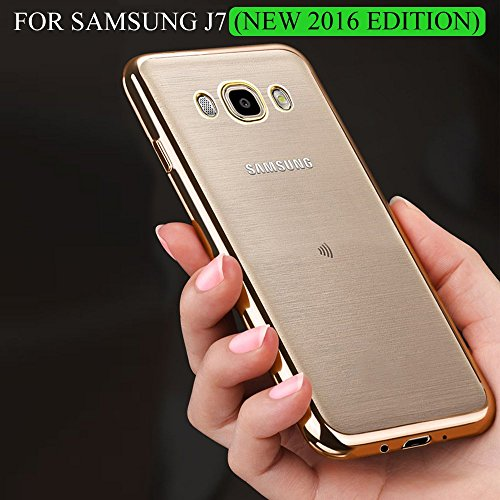 For Samsung Galaxy J7 (New 2016 Edition) - TGK™ Luxury Electroplated Golden Border High Quality TPU Soft Flexible Back Cover