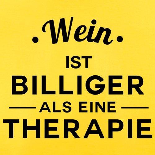 Wein ist billiger als eine Therapie - Herren T-Shirt - 13 Farben Gelb