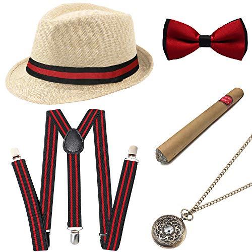 Jahre 1920er Herren Kostüm - Coucoland 1920s Herren Accessoires Mafia Gatsby Kostüm Set inklusive Panama Gangster Hut Verstellbar Elastisch Hosenträger Herren Halsschleife Fliege Taschenuhr und Plastik Zigarre (Beige - Stil 2)