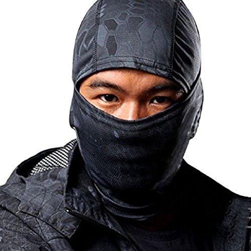 Männer Gesichtsmaske Auxma Tarnung Armee-einen.Kreislauf.durchmachenmotorrad-Kappe Balaclava-Hut-Gesichtsmaske (Schwarz)