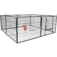 BUNNY BUSINESS Enclos de metal Robuste para cachorros o conejos 8botonera gris acero