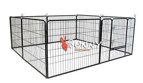 Bunny-Business-Heavy-Duty-Puppy-Play-Pen-Rabbit-Enclosure-8-Panel-Gunmetal-Grey