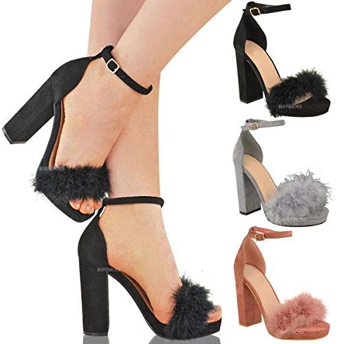 Sandales - talons hauts épais/plateforme - fausse fourrure de marabout - femme