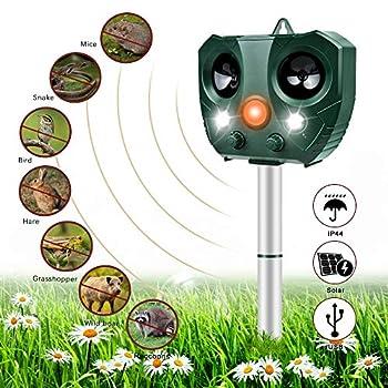 Nasharia Répulsif à ultrasons étanche avec batterie et flash 5 modes réglable pour chat, chien, parasite à ultrasons rouge-sauvage