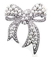 Jodie Rose Silver Colour Metal Bow Brooch with Imitation Pearls and Clear Crystals