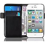 iPhone 4 Hülle, JAMMYLIZARD Luxuriöse Flip Cover Ledertasche mit Kartenfach für iPhone 4 & 4s, SCHWARZ
