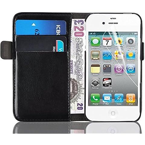 JAMMYLIZARD Funda De Piel Para iPhone 4 y 4S Tipo Cartera Luxury Wallet Case, NEGRO