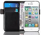 JAMMYLIZARD Housse iPhone 4 4s Coque iPhone 4 4s Etui housse portefeuille Deluxe range cartes fermeture magnétique, Noir