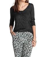 edc by ESPRIT Damen Langarmshirt Crinkle Solid