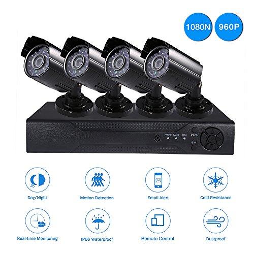 Topgio-4CH-DVR-Kit-AHD-Cmaras-de-Seguridad-y-VigilanciaIP-Interior-Exterior-Visin-Nocturna-Deteccin-Movimiento-Alertas-IP66-Impermeable-1TB-HDD-Negro-960P