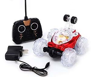 Tangda Voiture Radiocommandée RC Jouet de voiture Rechargeable voiture Stunt / voiture Télécommande Jouet Voiture 360 Twister radio-commandé avec Lumières Clignotantes avec de la Musique -Rouge