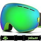 Ski Goggles for Men and Women, YAKAON Y1 Sphercial REVO Mirror Lens Anti-slip Strap Anti-fog UV Protection Detachable Lens & Strap