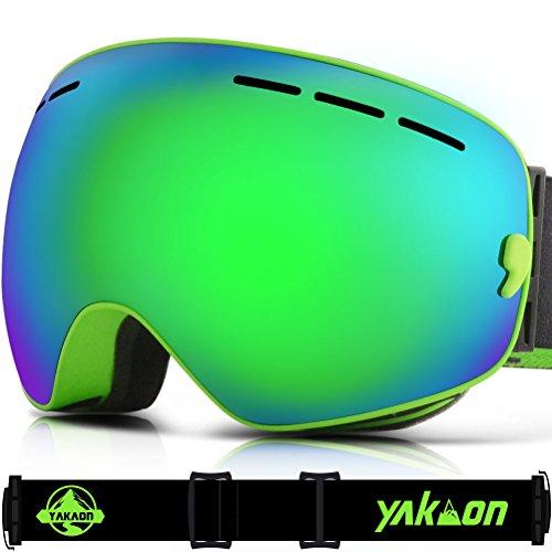 Skibrille, yakaon Y1sphercial Revo Spiegel Objektiv-rutschfeste-Umhängegurt Anti-Fog UV-Schutz Abnehmbare Objektiv & Umhängeband, Herren, Y1, Y1 Green Frame Green Lens VLT 24.3%