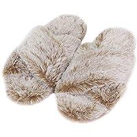 FamiPort Girls Soft Fuzzy House Slippers Fur Cross Band Slipper Spa Bedroom Open Toe Memeory Foam Slippers with Non Slip Sole for Women Brown