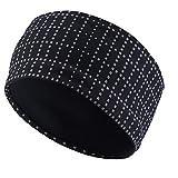 TOFERN Stirnband Schweißband Kopf breit reflektierend atmungsaktiv Fahrrad Yoga Fitness, Schwarz