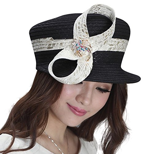 June's young elegent leisure brim bowler women hat for party (black/off white)