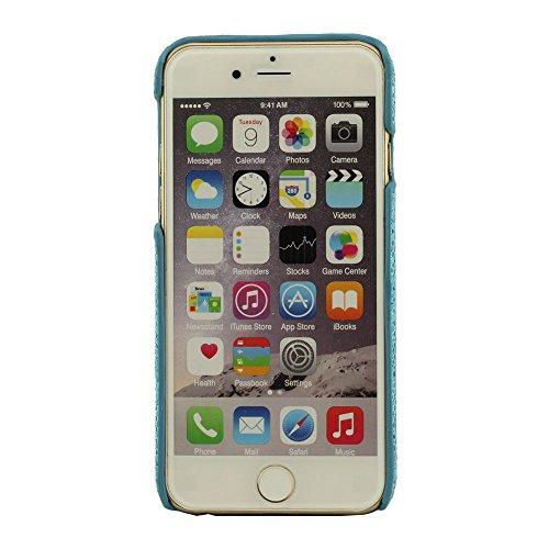 Beau Brillant Quatrième de Couverture pour iPhone 6 iPhone 6S, Coque (4.7 Pouce), Exquis Se Leva Broderie, Dur Case (iPhone 6 Plus 5.5 pouces ne convient pas) Bleu