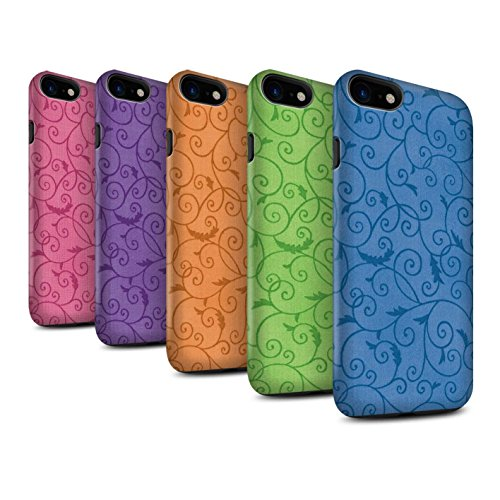 STUFF4 Matte Harten Stoßfest Hülle / Case für Apple iPhone 8 / Rosa Muster / Vine Blumenmuster Kollektion Pack (8 pcs)