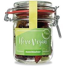 I Love Vegan Fruchtgummis von Naschlabor - Als veganes Geschenk für Freunde, für die Couch zum Naschen oder to go