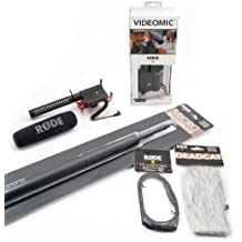 Rode VideoMic Kit Audio Essenziale, comprende VideoMic Rycote microfono direzionale, MicroBoom Asta Telescopica, VC1 Cavo di prolunga e Deadcat Peluche Antivento