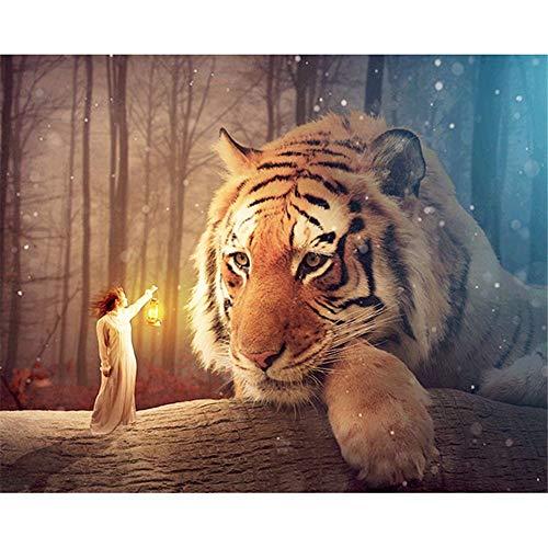 Diamant Malset für Erwachsene, Kinder Greatmin Tischdekoration, Raumbüro, Tiger, Stares at the Lamp Holder 39,9 x 30 cm, 1 Packung -