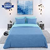 Bettwäsche, 3-teilig, Zweifarbig (Blau-Türkis) - Deckenbezug (240x220 cm) und 2 Kissenbezüge (63x63 cm) aus Baumwolle - Sehr weicher Stoff 57 Fäden - In Europa hergestellt - OEKO TEX zertifiziert