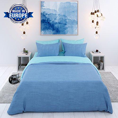 Bettwäsche, 3-Teilig, Zweifarbig (Blau-Türkis) - Deckenbezug (230x220 cm) und 2 Kissenbezüge (50x75 cm) aus Baumwolle - Sehr Weicher Stoff 57 Fäden - in Europa Hergestellt - Oeko Tex Zertifiziert