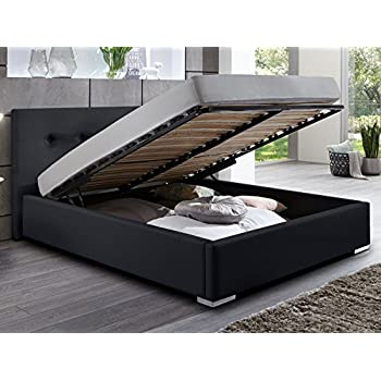 Bett 140x200 mit bettkasten  Polsterbett Bett mit Bettkasten schwarz Betty Doppelbett Ehebett ...