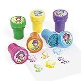 Kinderstempel Meerjungfrau Nixen bunt und lustig 6 Stück Stempel Mitgebsel mit Palandi® Sticker