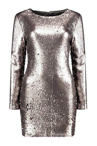 Argent Femme Boutique Fliss Robe Moulante À Sequins Argent