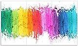 Wallario Herdabdeckplatte/Spritzschutz aus Glas, 3-teilig, 90x52cm, für Ceran- und Induktionsherde, Regenbogenstreifen auf weißem Hintergrund - Bunter Anstrich