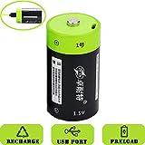 SOEKAVIA 4000mAh D Polymerisat-LithiumAkkus Wiederaufladbare Akkus USB-Laden Akkus mit USB-Kabel (schwarz + grün)-1Pcs