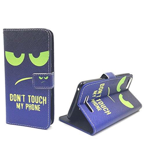 König-Shop Handy Tasche für Samsung Galaxy J1 2015 Flip Cover Case Schutz Hülle Etui Motiv Wallet, Farbe:Don't touch my Phone Blau / Grün